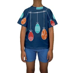 Easter Egg Balloon Pink Blue Red Orange Kids  Short Sleeve Swimwear by Alisyart