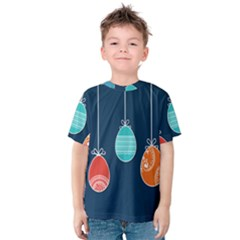 Easter Egg Balloon Pink Blue Red Orange Kids  Cotton Tee by Alisyart
