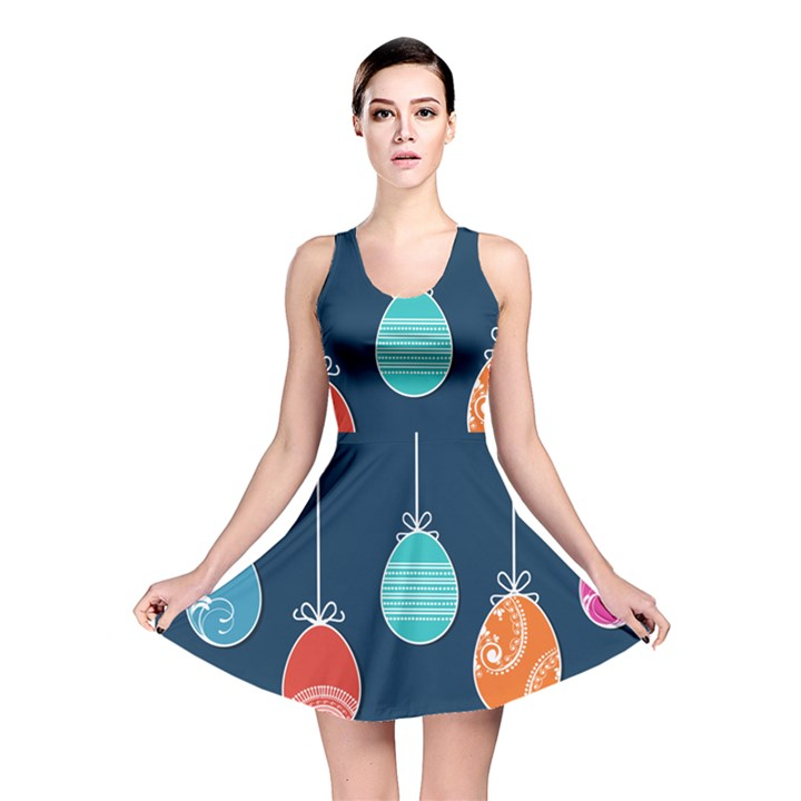Easter Egg Balloon Pink Blue Red Orange Reversible Skater Dress