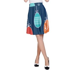 Easter Egg Balloon Pink Blue Red Orange A-line Skirt by Alisyart