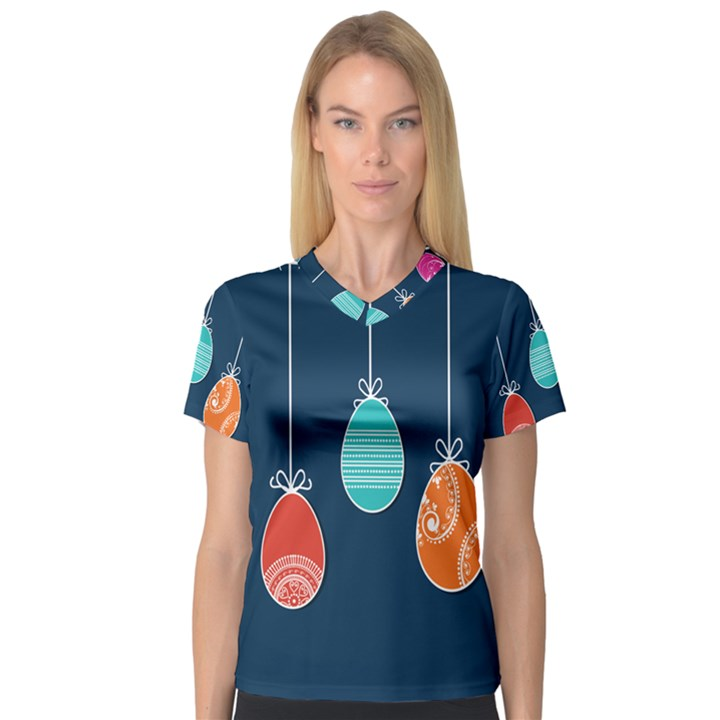 Easter Egg Balloon Pink Blue Red Orange Women s V-Neck Sport Mesh Tee