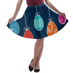 Easter Egg Balloon Pink Blue Red Orange A-line Skater Skirt by Alisyart