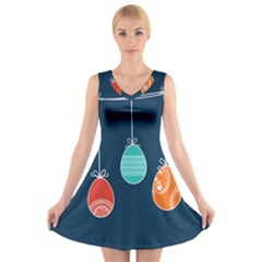 Easter Egg Balloon Pink Blue Red Orange V-neck Sleeveless Skater Dress by Alisyart