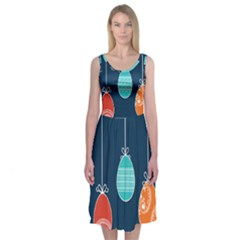 Easter Egg Balloon Pink Blue Red Orange Midi Sleeveless Dress by Alisyart