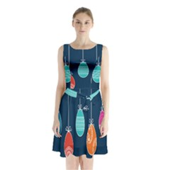 Easter Egg Balloon Pink Blue Red Orange Sleeveless Chiffon Waist Tie Dress by Alisyart