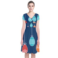 Easter Egg Balloon Pink Blue Red Orange Short Sleeve Front Wrap Dress by Alisyart