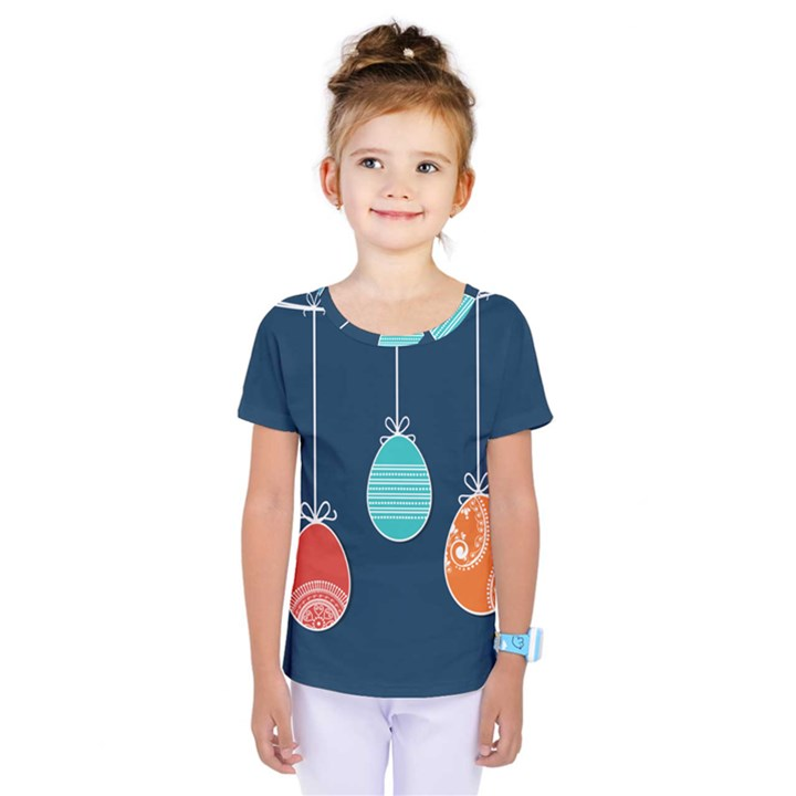 Easter Egg Balloon Pink Blue Red Orange Kids  One Piece Tee