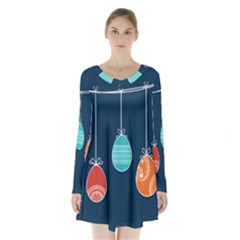 Easter Egg Balloon Pink Blue Red Orange Long Sleeve Velvet V-neck Dress by Alisyart