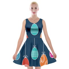 Easter Egg Balloon Pink Blue Red Orange Velvet Skater Dress by Alisyart
