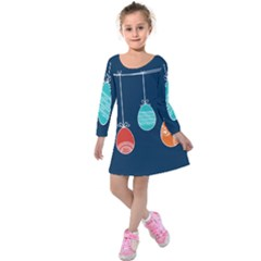 Easter Egg Balloon Pink Blue Red Orange Kids  Long Sleeve Velvet Dress by Alisyart