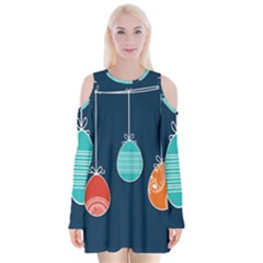 Easter Egg Balloon Pink Blue Red Orange Velvet Long Sleeve Shoulder Cutout Dress by Alisyart
