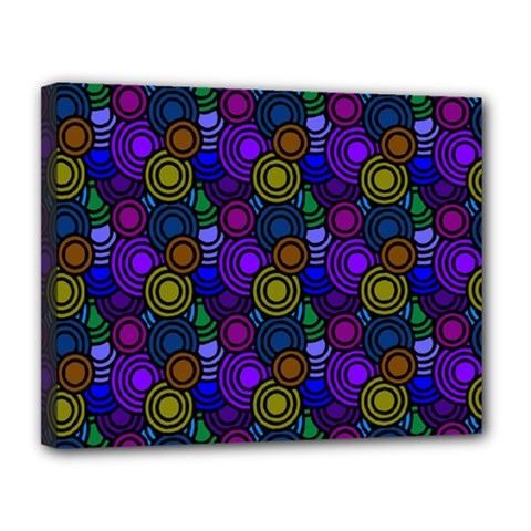 Circles Color Yellow Purple Blu Pink Orange Canvas 14  X 11  by Alisyart
