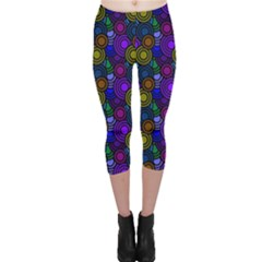 Circles Color Yellow Purple Blu Pink Orange Capri Leggings