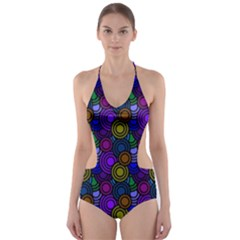Circles Color Yellow Purple Blu Pink Orange Cut Out One Piece Swimsuit