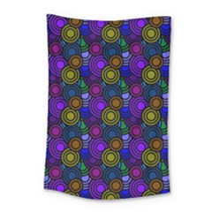 Circles Color Yellow Purple Blu Pink Orange Small Tapestry