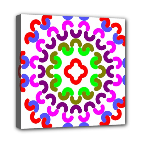 Decoration Red Blue Pink Purple Green Rainbow Mini Canvas 8  X 8