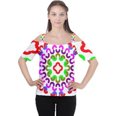 Decoration Red Blue Pink Purple Green Rainbow Women s Cutout Shoulder Tee