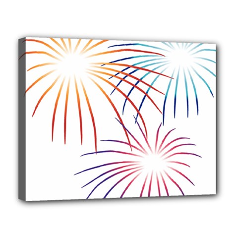 Fireworks Orange Blue Red Pink Purple Canvas 14  X 11  by Alisyart