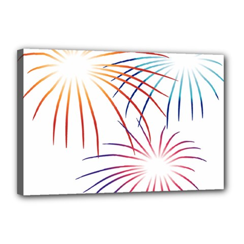 Fireworks Orange Blue Red Pink Purple Canvas 18  X 12