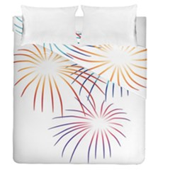 Fireworks Orange Blue Red Pink Purple Duvet Cover Double Side (queen Size) by Alisyart