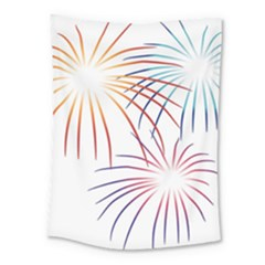 Fireworks Orange Blue Red Pink Purple Medium Tapestry by Alisyart