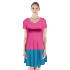Flag Color Pink Blue Short Sleeve V Neck Flare Dress