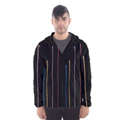 Falling Light Lines Color Pink Blue Yellow Hooded Wind Breaker (men)