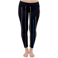 Falling Light Lines Color Pink Blue Yellow Classic Winter Leggings