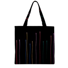 Falling Light Lines Color Pink Blue Yellow Zipper Grocery Tote Bag by Alisyart