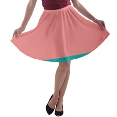 Flag Color Pink Blue Line A Line Skater Skirt