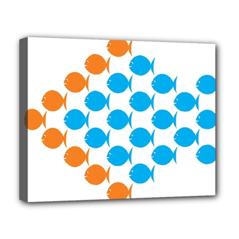 Fish Arrow Orange Blue Deluxe Canvas 20  X 16   by Alisyart