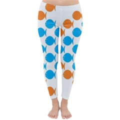 Fish Arrow Orange Blue Classic Winter Leggings