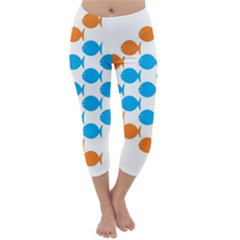 Fish Arrow Orange Blue Capri Winter Leggings  by Alisyart
