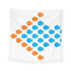 Fish Arrow Orange Blue Square Tapestry (small) by Alisyart