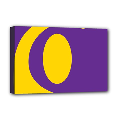 Flag Purple Yellow Circle Deluxe Canvas 18  X 12