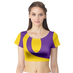 Flag Purple Yellow Circle Short Sleeve Crop Top (tight Fit) by Alisyart