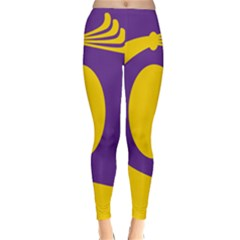 Flag Purple Yellow Circle Classic Winter Leggings