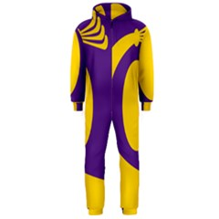 Flag Purple Yellow Circle Hooded Jumpsuit (men)