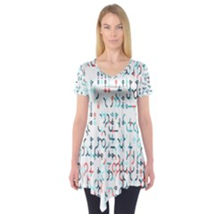 Connect Dots Color Rainbow Blue Red Circle Line Short Sleeve Tunic