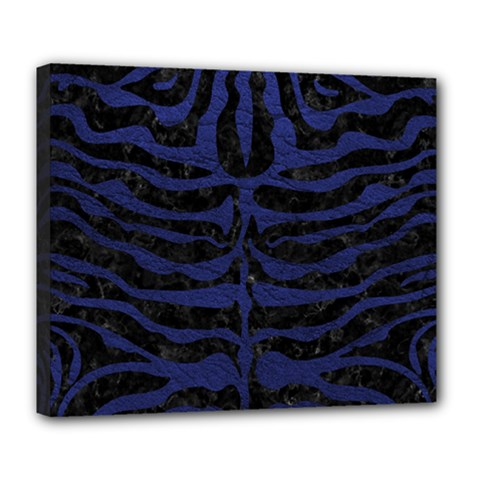 Skin2 Black Marble & Blue Leather Deluxe Canvas 24  X 20  (stretched) by trendistuff