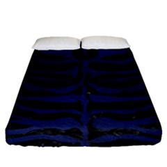 Skin2 Black Marble & Blue Leather Fitted Sheet (queen Size) by trendistuff