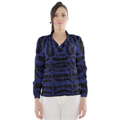 Skin2 Black Marble & Blue Leather Wind Breaker (women) by trendistuff