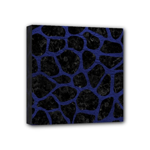 Skin1 Black Marble & Blue Leather (r) Mini Canvas 4  X 4  (stretched) by trendistuff