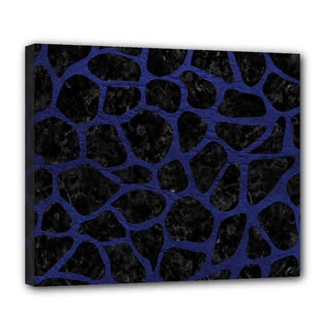 Skin1 Black Marble & Blue Leather (r) Deluxe Canvas 24  X 20  (stretched) by trendistuff