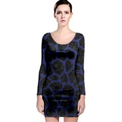 Skin1 Black Marble & Blue Leather (r) Long Sleeve Bodycon Dress by trendistuff
