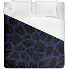 Skin1 Black Marble & Blue Leather (r) Duvet Cover (king Size) by trendistuff