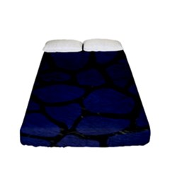 Skin1 Black Marble & Blue Leather Fitted Sheet (full/ Double Size)