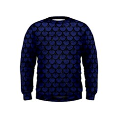 Scales3 Black Marble & Blue Leather (r) Kids  Sweatshirt by trendistuff