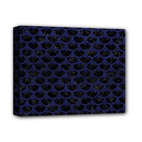 Scales3 Black Marble & Blue Leather Deluxe Canvas 14  X 11  (stretched) by trendistuff