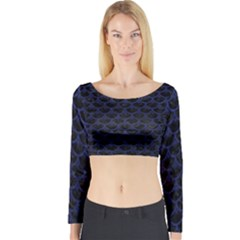 Scales3 Black Marble & Blue Leather Long Sleeve Crop Top (tight Fit) by trendistuff